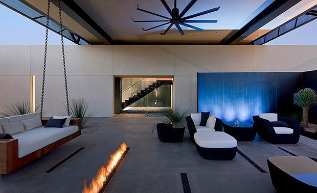 exterior fireplace Diamond Grill Design - Dream Residence in Las Vegas by Assemblage Studio