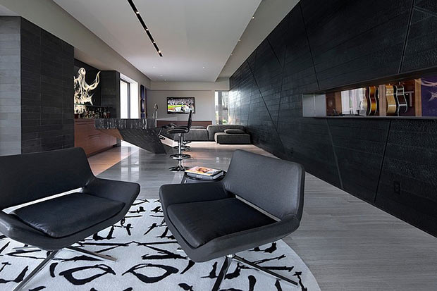 black and white living room interior design Diamond Grill Design - Dream Residence in Las Vegas by Assemblage Studio