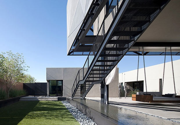 exterior staircase Diamond Grill Design - Dream Residence in Las Vegas by Assemblage Studio