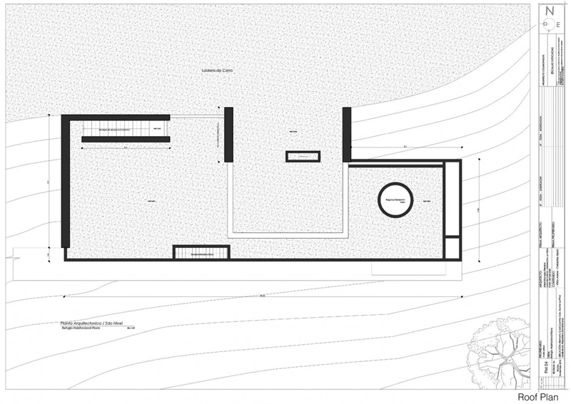blueprint floor plan section plane trough RD House in Dominican Republic Featuring a Sustainable Green Roof