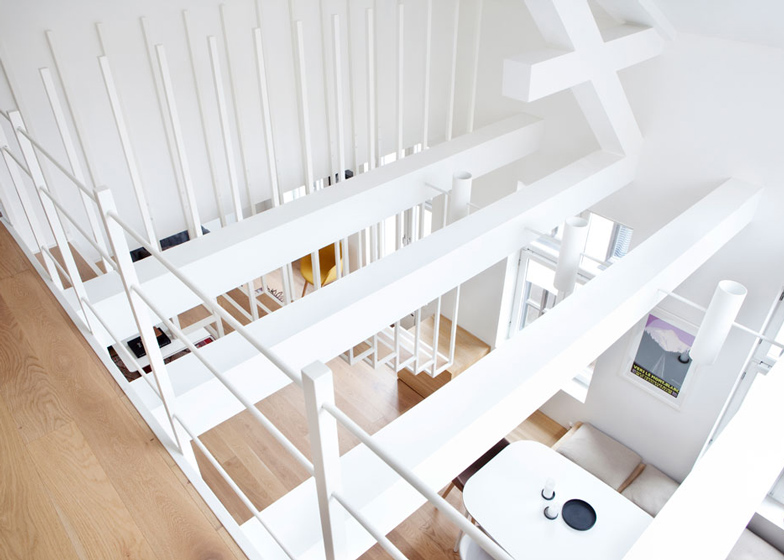 White Coated Staircase Floating Above the Ground-Suspended Steel Powder