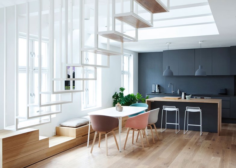 living room interior design White Coated Staircase Floating Above the Ground-Suspended Steel Powder
