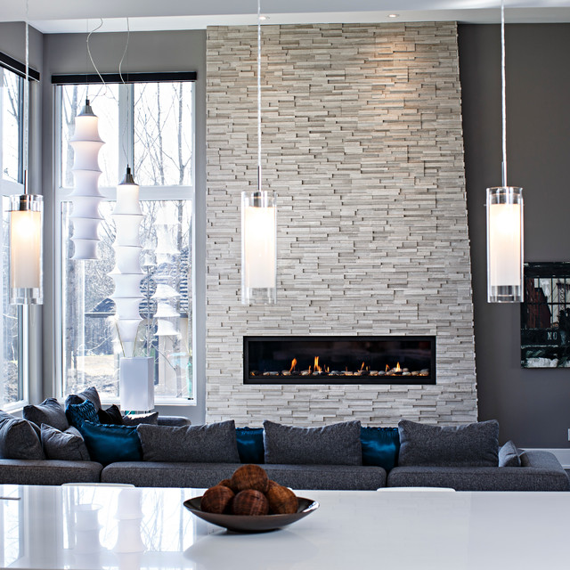 25 interior stone fireplace designs for Interior rock walls designs