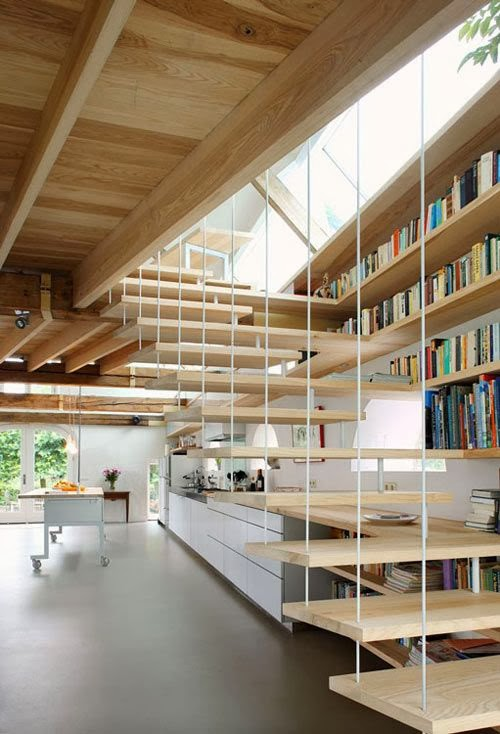 suspended Different-Wooden-Types-of-Stairs-for-Modern-Homes
