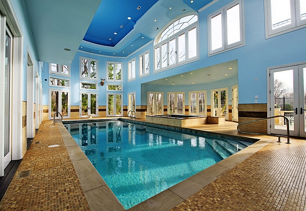 A multitude of windows Offering Light to the Interior Swimming Pool