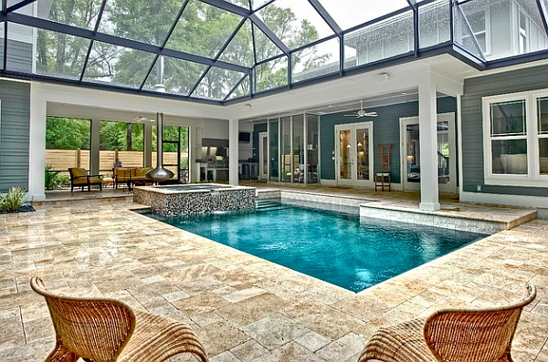 Hot Tub And Orb Fireplace Guarding The Swimming Pool Homesthetics