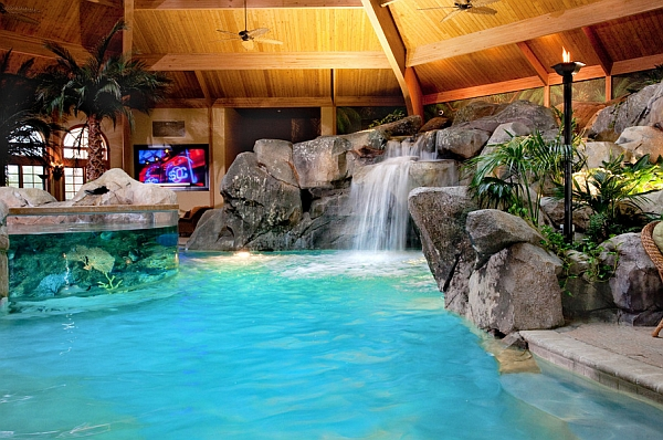Tropical Indoor Paradise with Waterfall