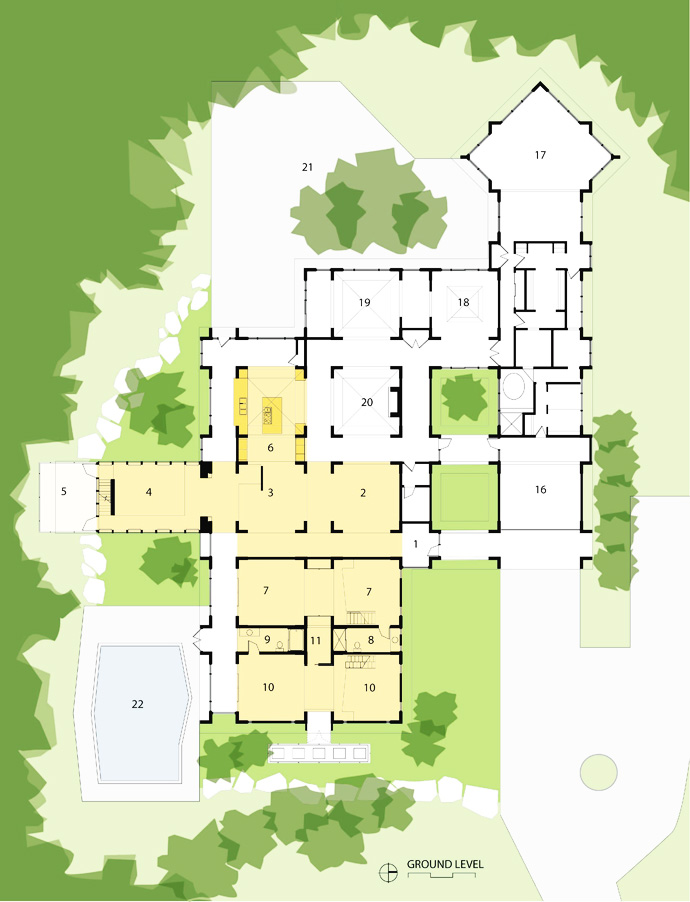 floor plan Arkansas-House-Modern-Mansion-Embedded-in-Vegetation-by-Marlon-Blackwell