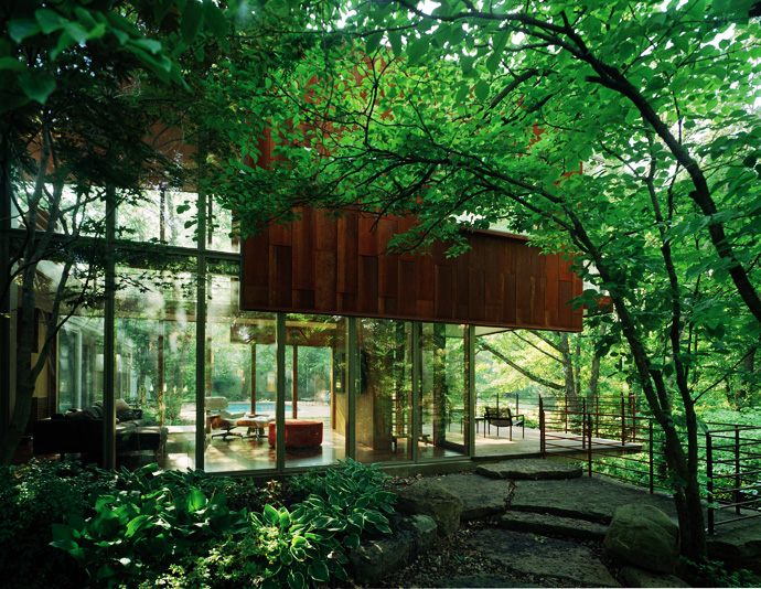 superb greenery Arkansas-House-Modern-Mansion-Embedded-in-Vegetation-by-Marlon-Blackwell