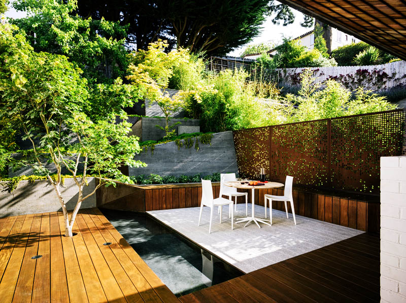 Backyard landscaping ideas hilgard garden by mary for Form garden architecture