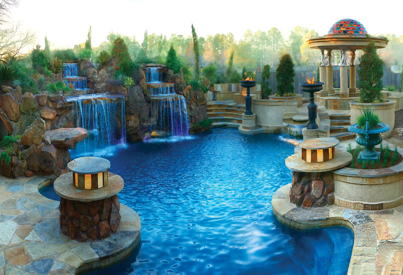 breathtaking waterfalls dropping into swimming pools Backyard-Landscaping-Paradise-30-Spectacular-Natural-Pools-