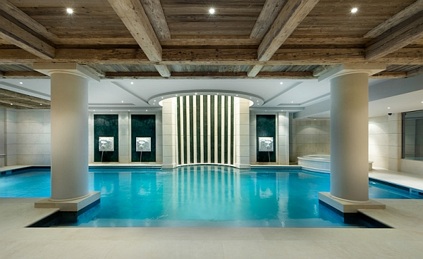 Beatuiful Illuminated Indoor Pool with Wooden Ceilling