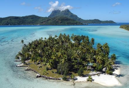 helicopter view Buy Your Own Island in Bora Bora, French Polynesia Haapiti Rahi Motu