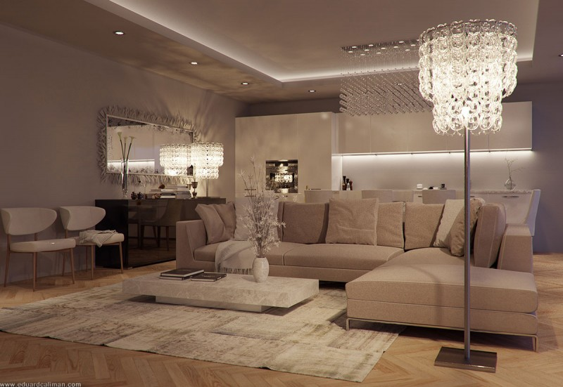 Luxurious Living Rooms in a Small Apartment Designed by Eduard ...