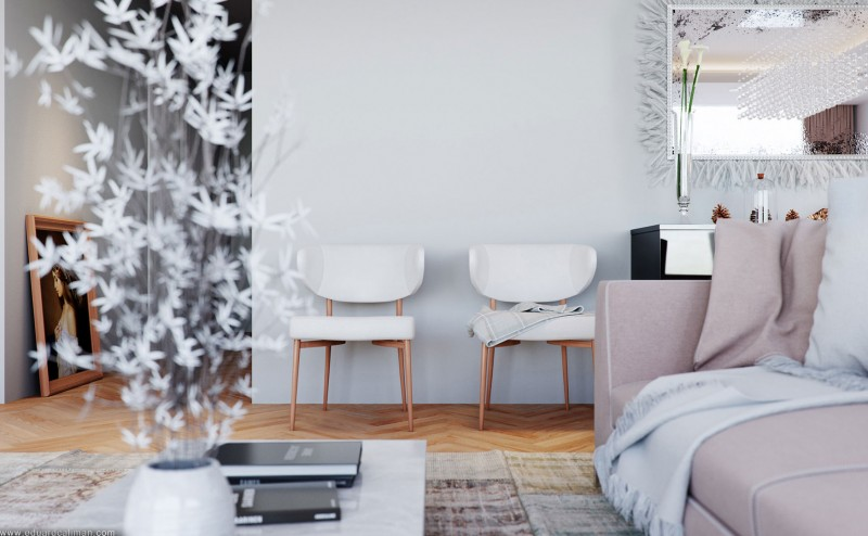 small simple white chairs in Color-Inspiration-Embedded-in-a-Small-Apartment-Designed-by-Eduard-Caliman