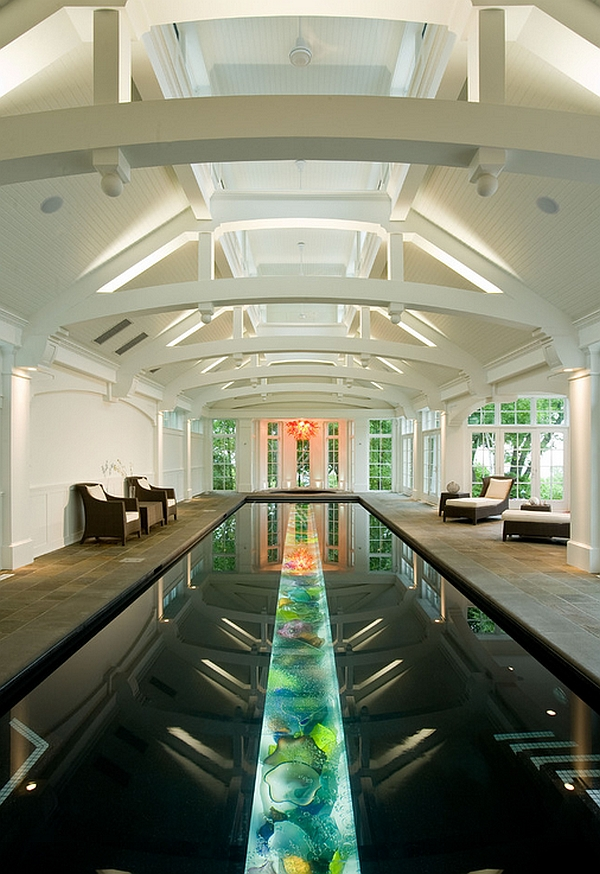 High End Luxurious Black Pool with Art Glass at the Buttom