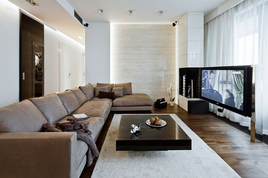 Black and White Living Room Design With Wall Mounted Entertainment Unit