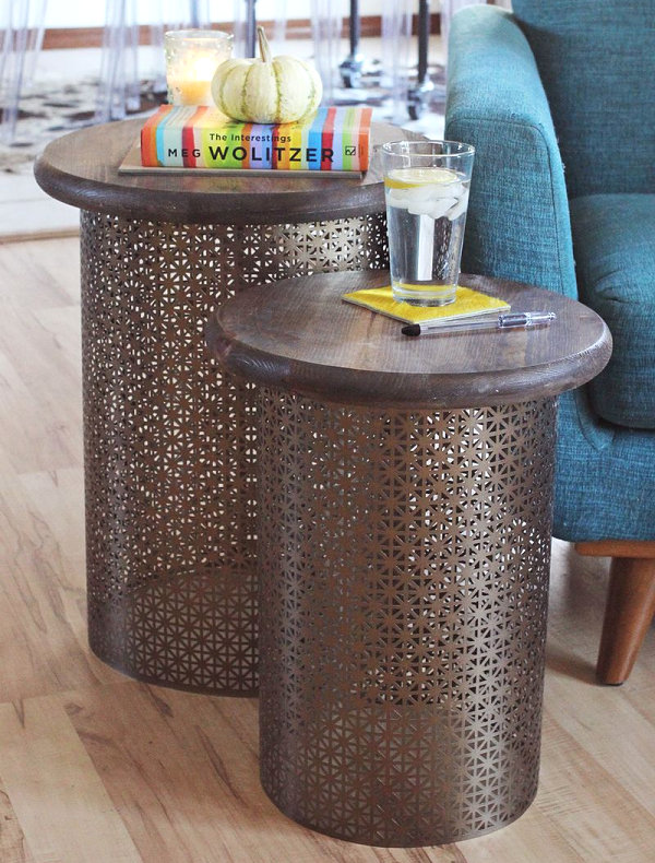 DIY Brass and Wood Site Tables