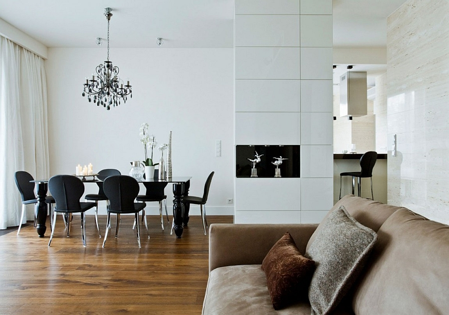Eclectic Mixture Superb Minimalist Black and White Design in Which the Chandelier Defines and Dominates the Space