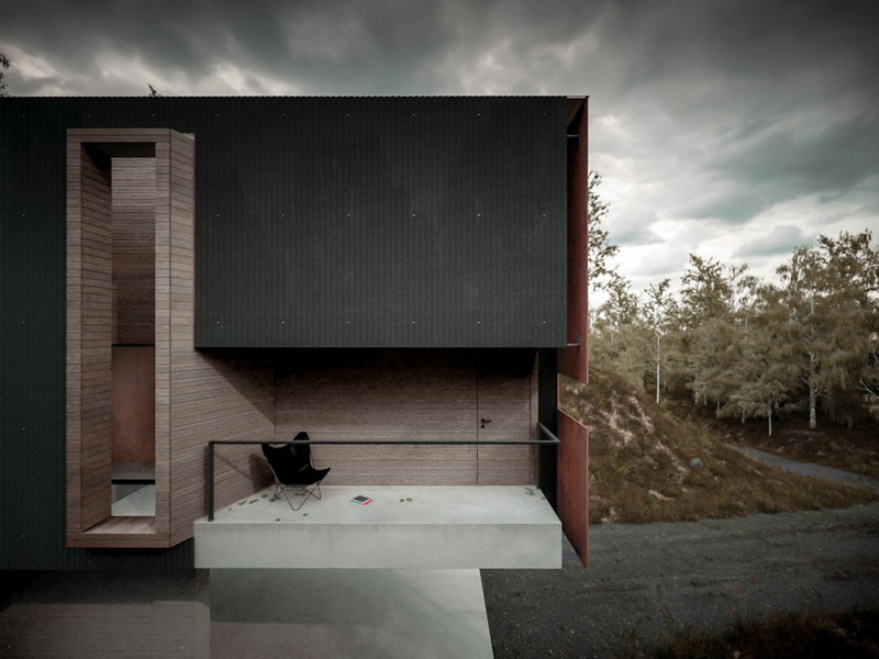 highly graphic cantilevered balcony out of exposed concrete