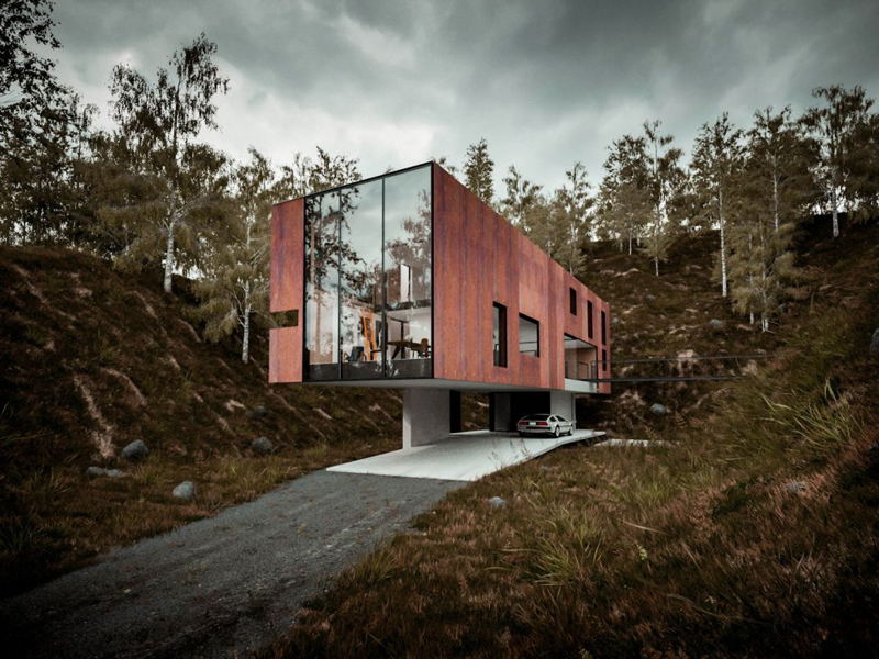 extraordinary cantilevered sculptural home with perfect proportions
