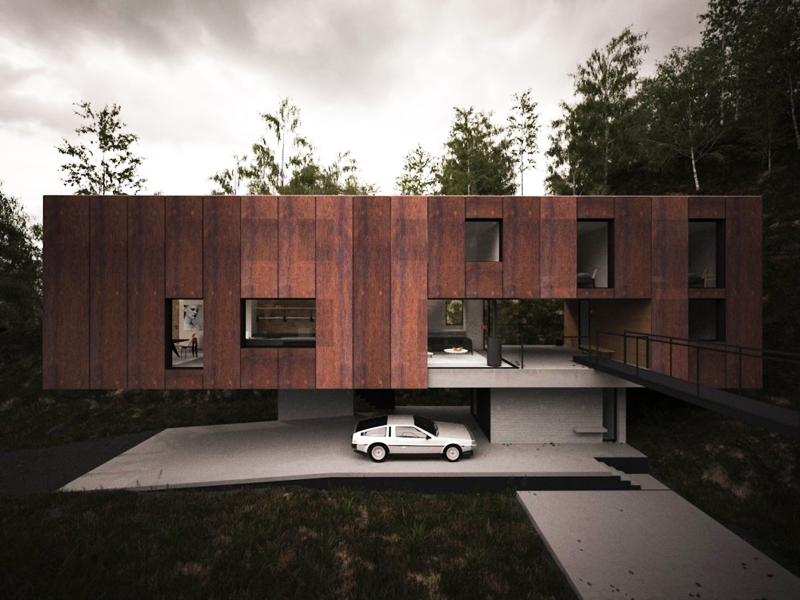 super modern mansion facade wrapped in wood