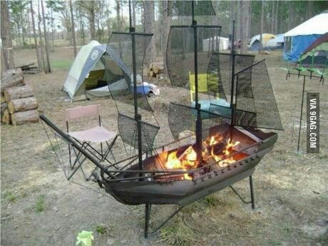 Pirate Ship Fire Pit Design Idea
