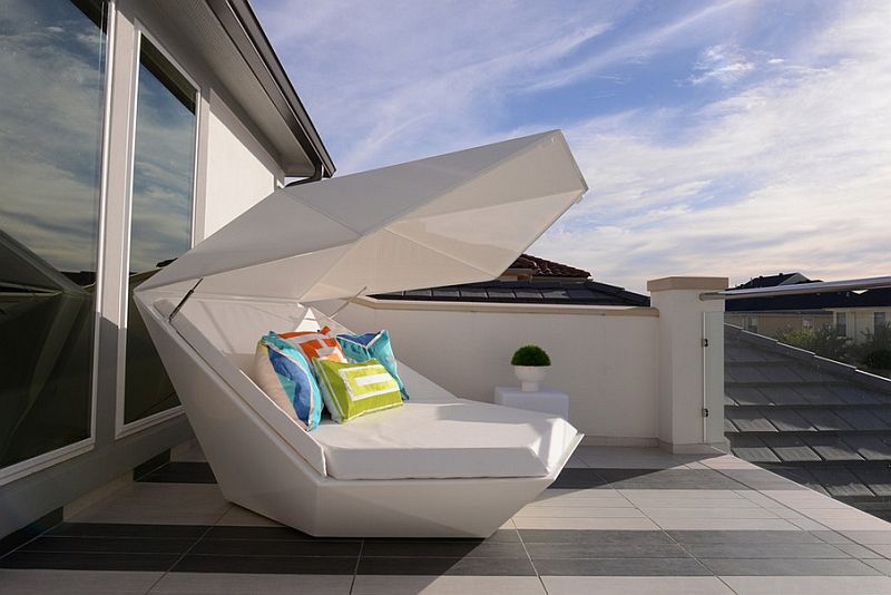 Highly Geometric Clam Like Futuristic Outdoor Bed