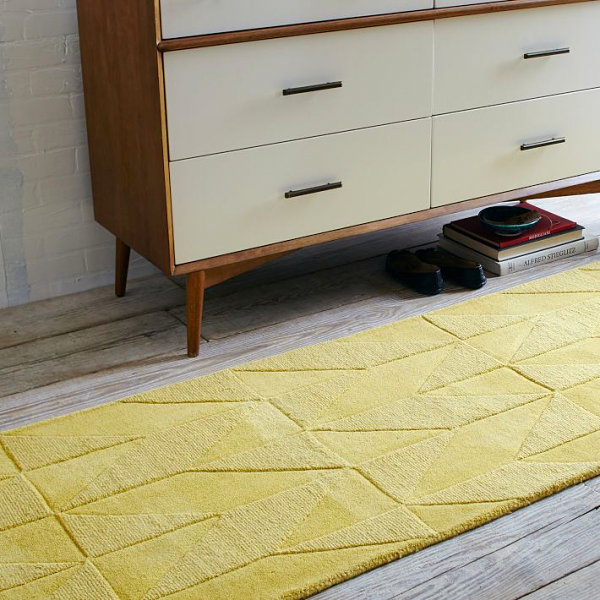 Yellow Wool Runner with Geometric Motif