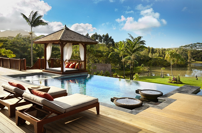 Beautiful Gazebo With an Outdoor Bed Next to the Infinity Swimming Pool