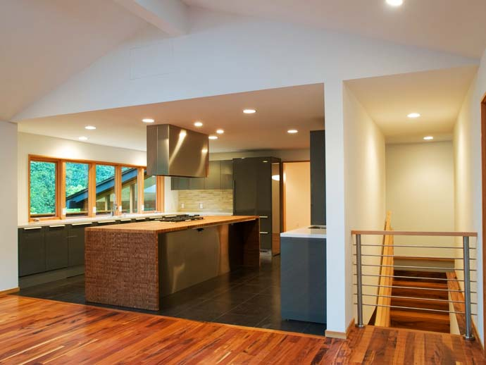 modern kitchen design Green Modern Classic House by PLACE Hidden in the Forest