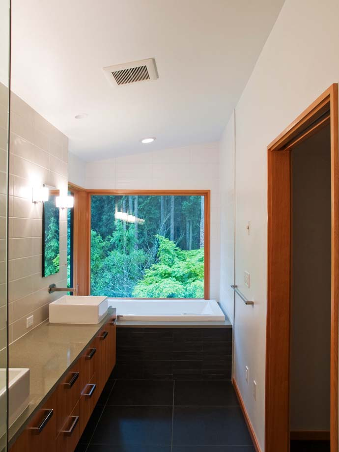bathroom design with extraordinary view to the forest