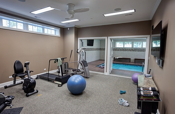 Home Gym by the Swimming Pool