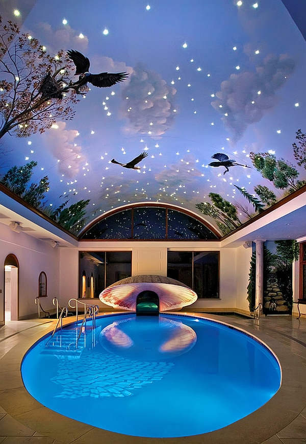 Creative Painted Ceiling Adding Drama to the Scenery
