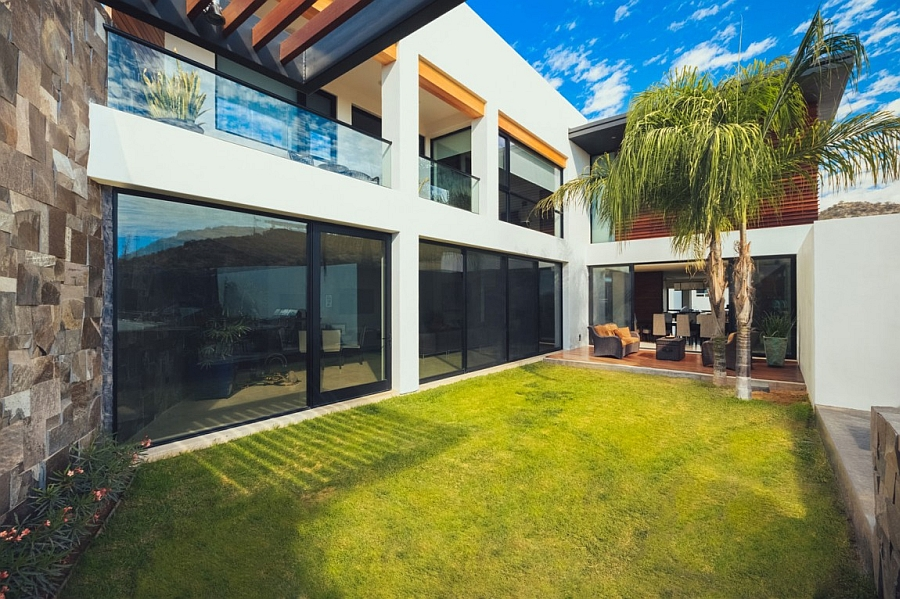 Large Sliding Glass Doors Leading to the Courtyard