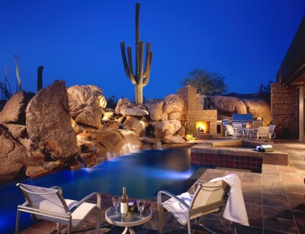 Backyard Landscaping Design Ideas Swimming Pool Fireplaces