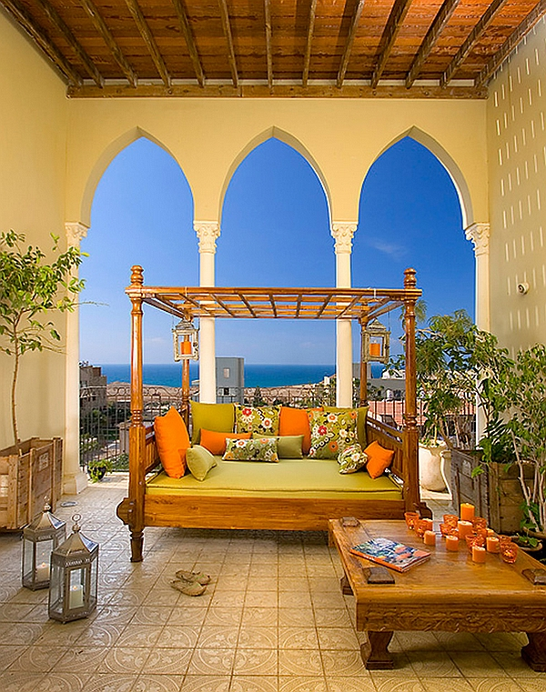 Mediterranean Style Porch With a Cozy and Warm Outdoor Bed