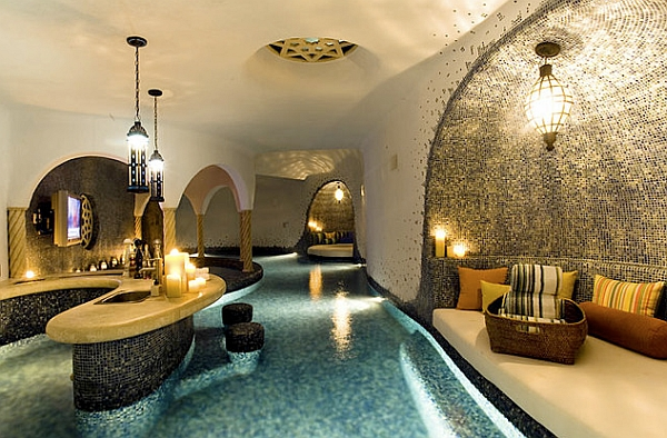 Morrocan Style Indoor Pool with a Bar and Lounge Area
