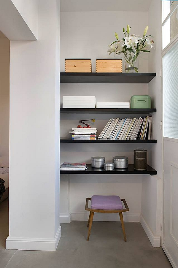 simple storage area in a small apartment design