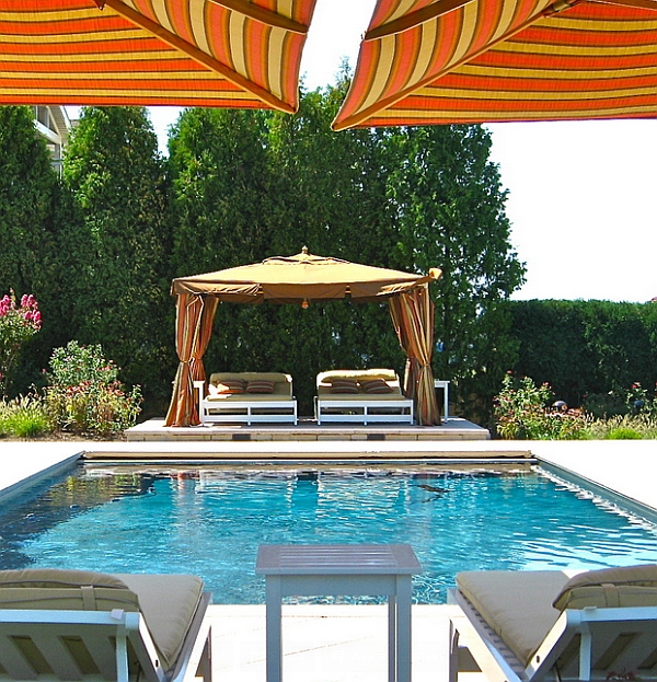 Twin Outdoor Beds In Poolside Lounging Area