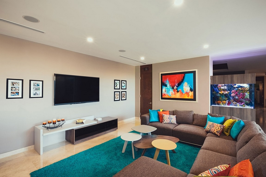 Pops of Bright Color Accents Animating the Family Room