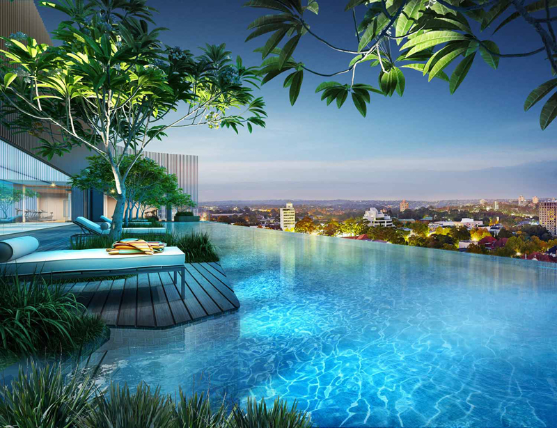 infinity swimming pool Rewriting-City-Living-Luxury-Residential-Project-Envisioned-Crown-Group