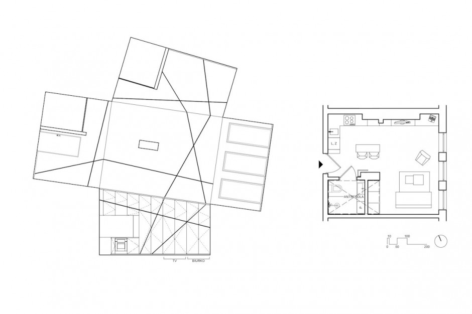section plane blueprint and floorplans of the black and white apartment