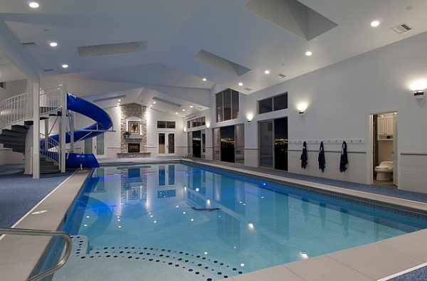 Indoor pool with waterslide  Jaw-Dropping Indoor Swimming Pool Ideas for a Breathtaking Dip
