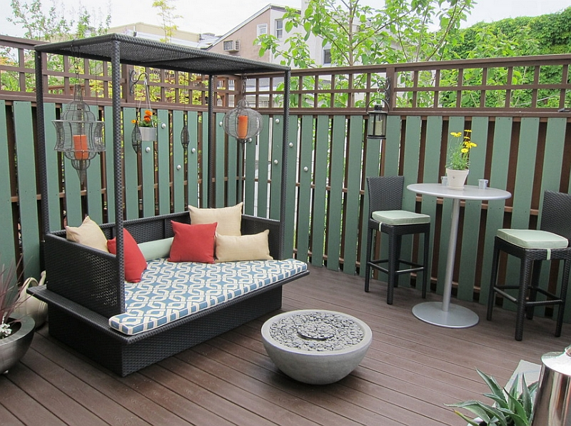 Small Outdoor Bed With Canopy Enhancing A Compact Modern Deck