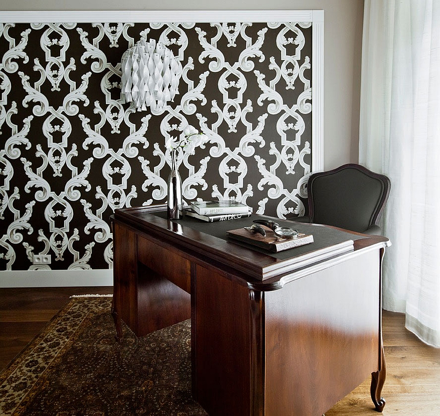 Classic Home Office Contrasted by Dense Pattern on the Background
