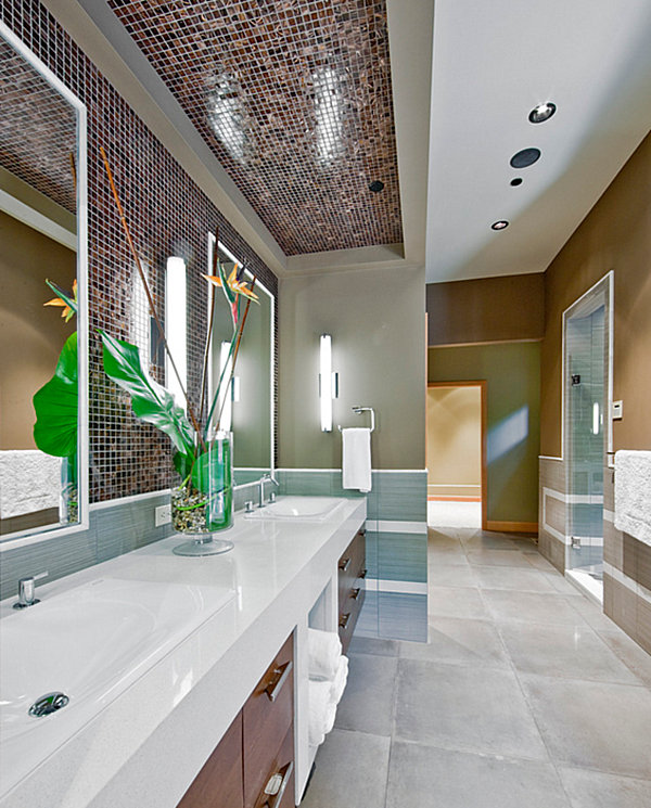 Contemporary Modern Bathroom With a Touch of Greenery