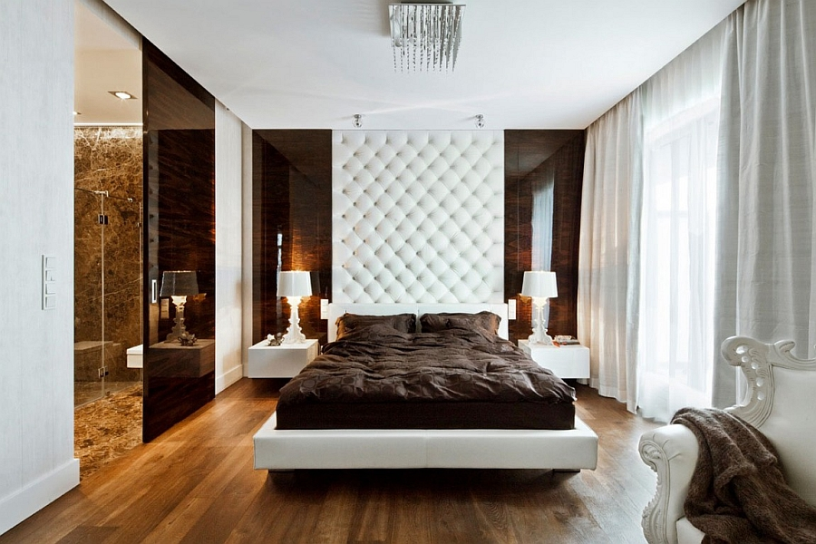 Simply Shattering Bedroom Design with Tufted Headboard Extruded All the Way up to the ceilling