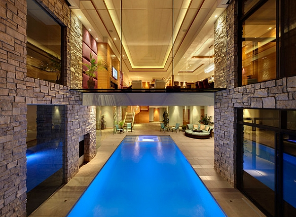 A Simple Pathway Above the Pool Interfering with Spatiality and Offering  Place to Jump From Jaw Dropping Indoor Swimming Ideas for a Breathtaking Dip