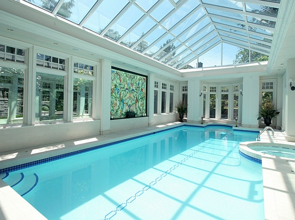 Jaw dropping indoor swimming pool ideas for a breathtaking dip for Enclosed swimming pool designs